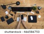top view office | Shutterstock . vector #466586753