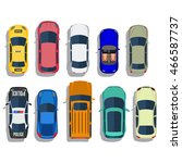 cars top view vector flat city... | Shutterstock .eps vector #466587737