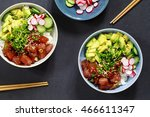 traditional hawaiian tuna poke | Shutterstock . vector #466611347