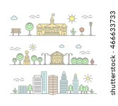 linear city illustration in... | Shutterstock . vector #466633733
