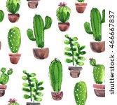 watercolor cactus pattern | Shutterstock . vector #466667837