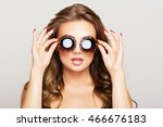closeup of beautiful young... | Shutterstock . vector #466676183