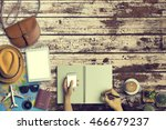 concept of hipster travel... | Shutterstock . vector #466679237