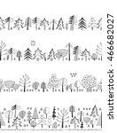 doodles set   forest. seamless... | Shutterstock .eps vector #466682027