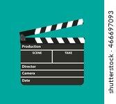 black opened clapperboard.... | Shutterstock .eps vector #466697093