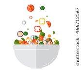 fresh vegetables salad vector... | Shutterstock .eps vector #466712567
