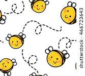 bee seamless pattern. honey... | Shutterstock .eps vector #466723643