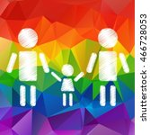 happy gay parents with kid on a ... | Shutterstock .eps vector #466728053