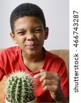 Boy Touching Cactus With His...