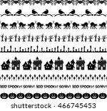 black halloween border patterns  | Shutterstock .eps vector #466745453