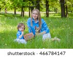 mom and daughter in the same... | Shutterstock . vector #466784147