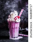 strawberry milkshake on rustic... | Shutterstock . vector #466808717