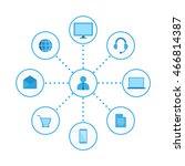 Omni Channel, Multi Channel, E-Commerce, Digital Marketing vector Illustration