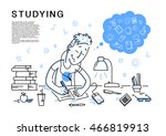 vector flat studying boy...   Shutterstock .eps vector #466819913