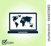 laptop and world map... | Shutterstock .eps vector #466825883