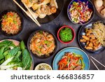 chinese food on dark wooden... | Shutterstock . vector #466836857