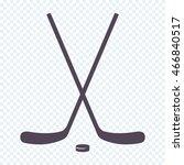 crossed ice hockey sticks   Shutterstock .eps vector #466840517