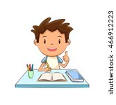 happy child  homework  studying | Shutterstock .eps vector #466912223