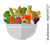fresh vegetables salad vector... | Shutterstock .eps vector #466924727