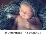 sleeping newborn baby in a... | Shutterstock . vector #466926437