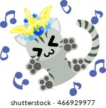 the pretty little cat and a... | Shutterstock .eps vector #466929977