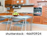 interior of modern kitchen with ... | Shutterstock . vector #46693924