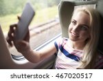 blonde woman taking selfie in... | Shutterstock . vector #467020517