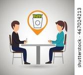 couple sitting dinner vector... | Shutterstock .eps vector #467024213