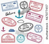 travel stamps set vector  ... | Shutterstock .eps vector #467077457