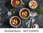 Three Bowls Of Gazpacho Soup O...