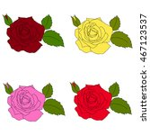 set of red and yellow roses... | Shutterstock .eps vector #467123537
