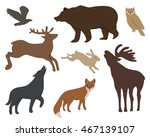 collection of wild forest... | Shutterstock . vector #467139107