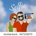 happy couple making selfie sky...   Shutterstock .eps vector #467143073