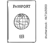 vector sketch passport | Shutterstock .eps vector #467165003