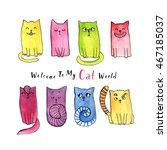 watercolor doodle cat... | Shutterstock . vector #467185037