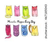 watercolor doodle cat... | Shutterstock . vector #467185043