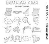 outline business plan icons set....