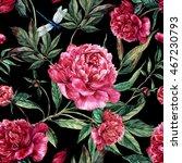 summer seamless watercolor... | Shutterstock . vector #467230793