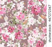 watercolor floral seamless... | Shutterstock . vector #467272367