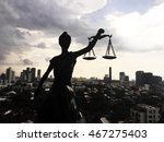 shadow of lady of justice and... | Shutterstock . vector #467275403