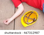 injured worker and hardhat on... | Shutterstock . vector #467312987