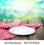 empty white plate on wooden... | Shutterstock . vector #467319563