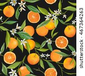 seamless floral pattern. orange ... | Shutterstock .eps vector #467364263