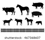 vector farm animals silhouettes ... | Shutterstock .eps vector #467368607