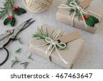 eco craft christmas gift boxes | Shutterstock . vector #467463647