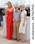 """Small photo of CANNES, FRANCE - MAY 11, 2016: Director Woody Allen with actresses Blake Lively & Kristen Stewart at the photocall for """"Cafe Society"""" at the 69th Festival de Cannes."""