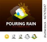 pouring rain color icon  vector ...