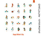 happy mothers day simple flat... | Shutterstock .eps vector #467471663