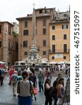 Small photo of ROME, ITALY - JUNE 15, 2015: A six-metre obelisk and Fountain of the Pantheon (Fontana del Pantheon) at Piazza della Rotonda .. Rome, Italy