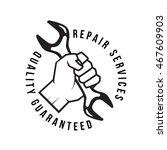 hand holding wrench tool logo... | Shutterstock .eps vector #467609903